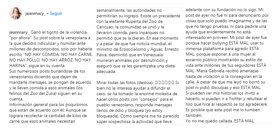 Post Jean Mary por Instagram